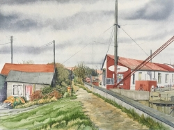 Sea Wall at Heybridge Basin Painting