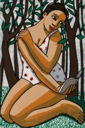 Reading in the Forest Print