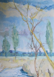 Poplars, Boxted Painting