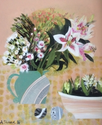 Pinks and Lilies and Hyacinths Painting