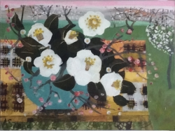 Camellias and Cherry Blossom Painting