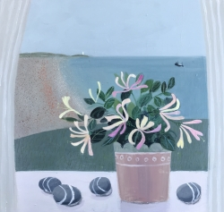Honeysuckle and striped Stones Painting