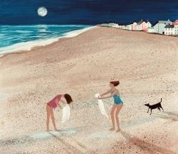Moon Shadow, Aldeburgh Painting by Barbara Peirson
