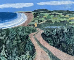 Through the Bracken to the Sea Painting by Barbara Peirson