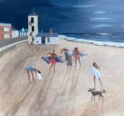 Moonrise Aldeburgh Painting by Barbara Peirson