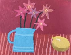Blue Jug and Lemon Painting by Barbara Peirson