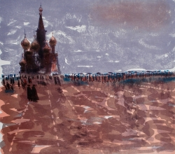 Red Square Print by Bernard Cheese