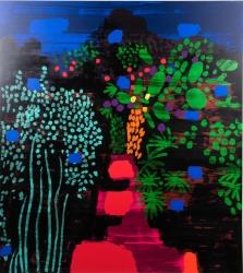 Red garden Path Print