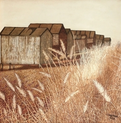 Beach Hut and Grasses Painting