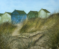 Beach Huts and Sand Dunes Painting