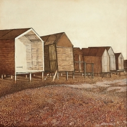 Beach Huts at Mill Beach Painting