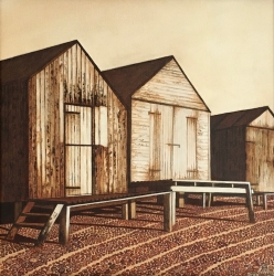 Three Beach Huts Painting