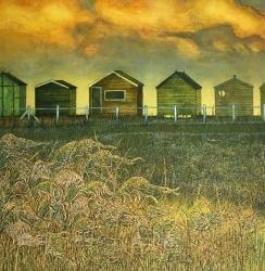 Winter Beach Huts Painting