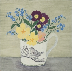 Wren Cup and Spring Flowers Painting