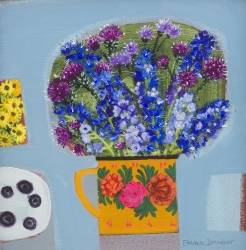 Blueberries and blue Flowers with a touch of yellow Painting