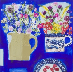 Two Bunches & Raspberries on blue Painting