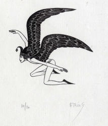 Commedy: Man trying to Fly Print by Eric Gill