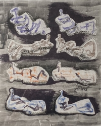 Eight Reclining Figures Print by Henry Moore