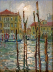 Foggy Day, Grande Canal Painting