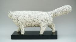 White Scratchy Cat Ceramic