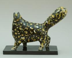 Yellow Curly Cat Ceramic