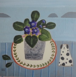 African Violets and Spotty Dog Painting