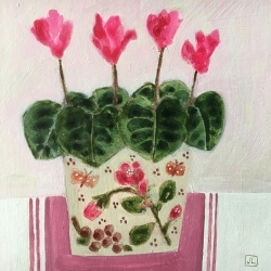Pink Cyclamen Painting