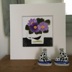 Flowers and Blackbird Painting
