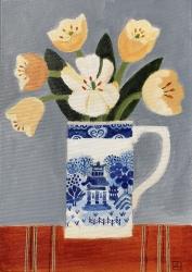 Orange Tulips in a Willow pattern Jug Painting by Jill Leman