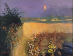 Storm Moon and Barley Painting