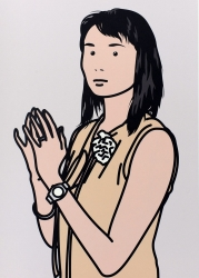 Hijiri with hands together. Print by Julian Opie