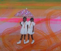 Best Friends, beside the road (Sri Lanka) Painting
