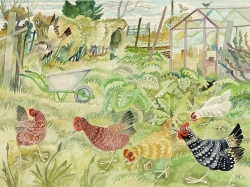 Hens in the Back Garden Painting