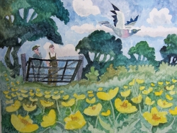 Gate and Buttercups Painting