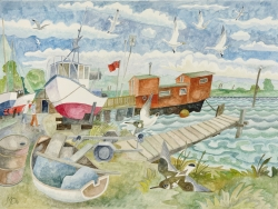 Boatyard at High Tide Painting