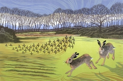 Hares and Fieldfares Print