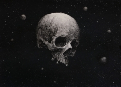 Skull in Space Painting