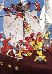 Boys and Pirates Fighting Print