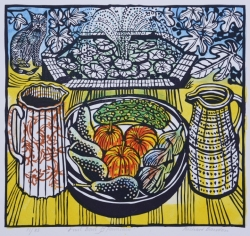 Fruit Bowl and Fountain Print