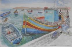 Fishing Boats at Marsalokk Painting