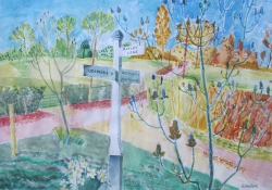 Country Lane, Spring Painting by Ronald Hellen
