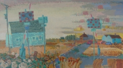 Level Crossing, Early Morning Painting by Ronald Hellen