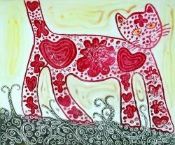 Paisley Cat Print