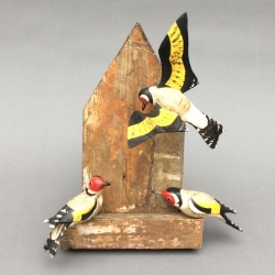 Three Goldfinches Sculpture