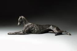 Stretching Greyhound Lurcher Sculpture