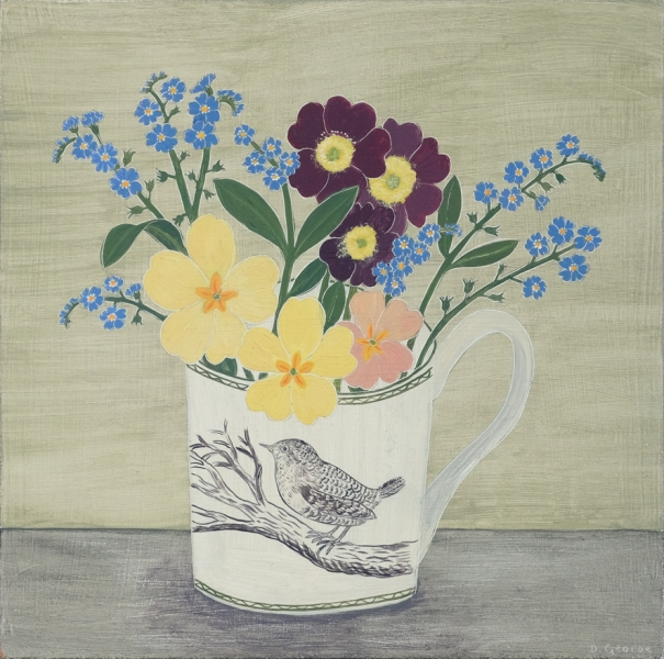 Wren Cup and Spring Flowers