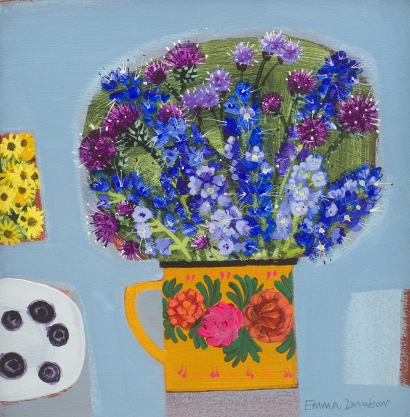 Blueberries and blue Flowers with a touch of yellow