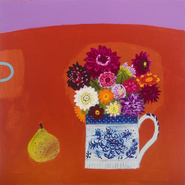 Dahlias and a pear on orange in a special cup