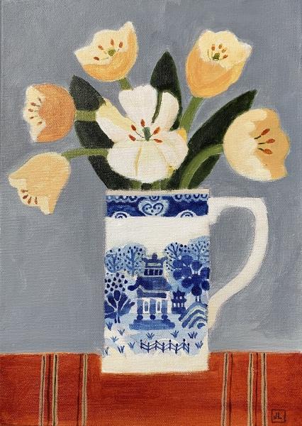 Orange Tulips in a Willow pattern Jug by Jill Leman  PRWS RBA
