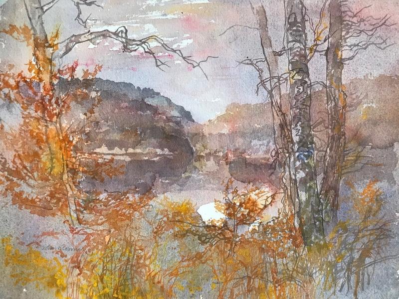 Stewantry River, November by John O'Connor  RCA RE RWS (1913 - 2004)